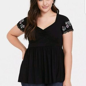 Super soft black embroidered babydoll tee